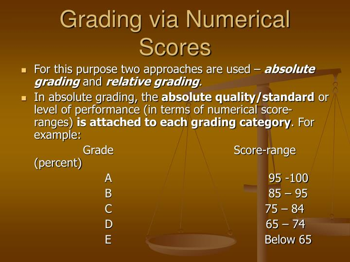 Grading via Numerical Scores