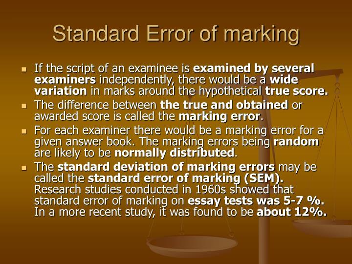 Standard Error of marking