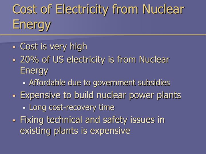 Cost of Electricity from Nuclear Energy
