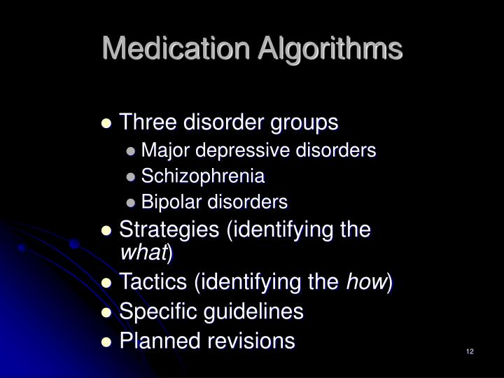 Medication Algorithms