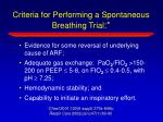 criteria for performing a spontaneous breathing trial