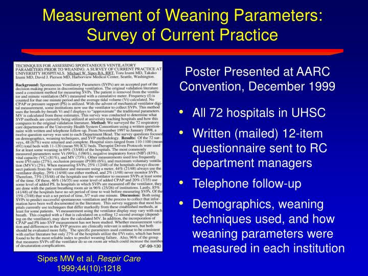 Measurement of Weaning Parameters:  Survey of Current Practice