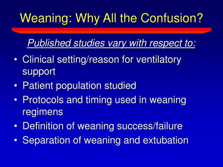 Weaning: Why All the Confusion?