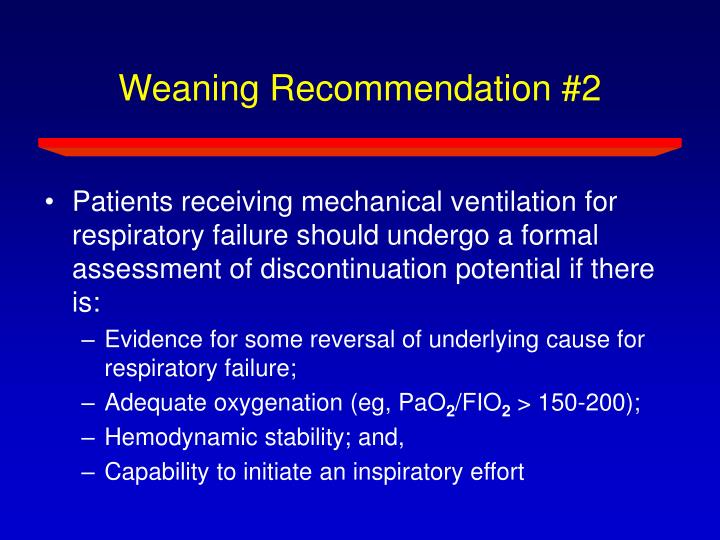 Weaning Recommendation #2