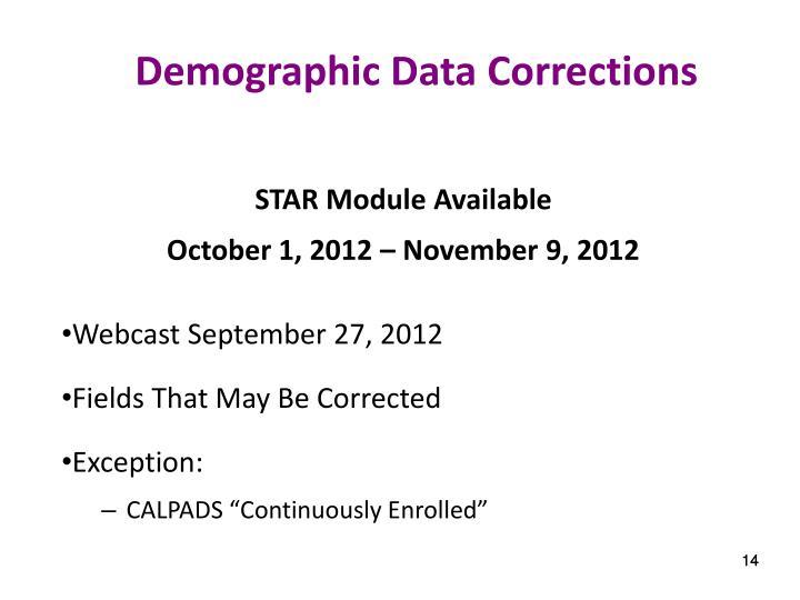 Demographic Data Corrections