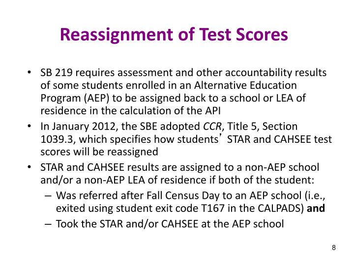 Reassignment of Test Scores