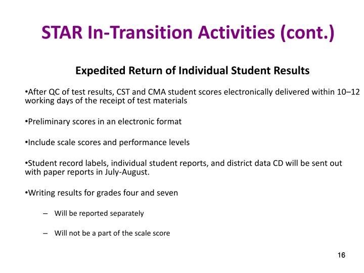 STAR In-Transition Activities (cont.)
