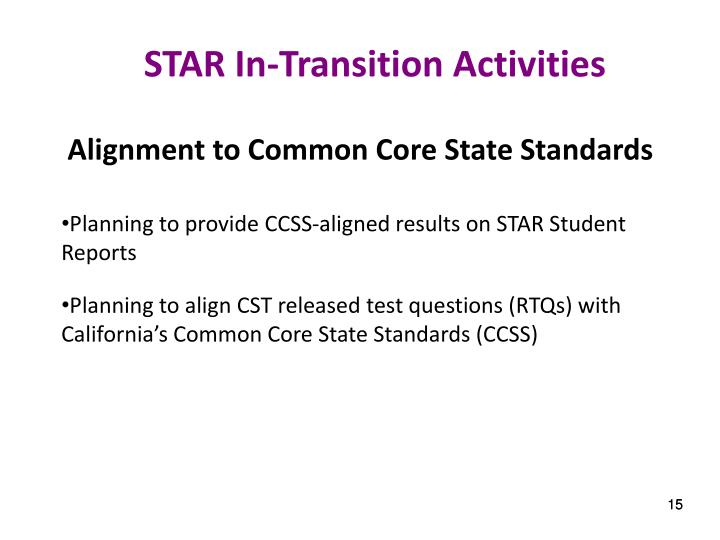 STAR In-Transition Activities