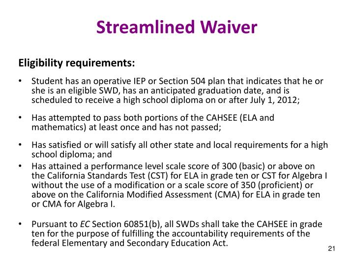 Streamlined Waiver