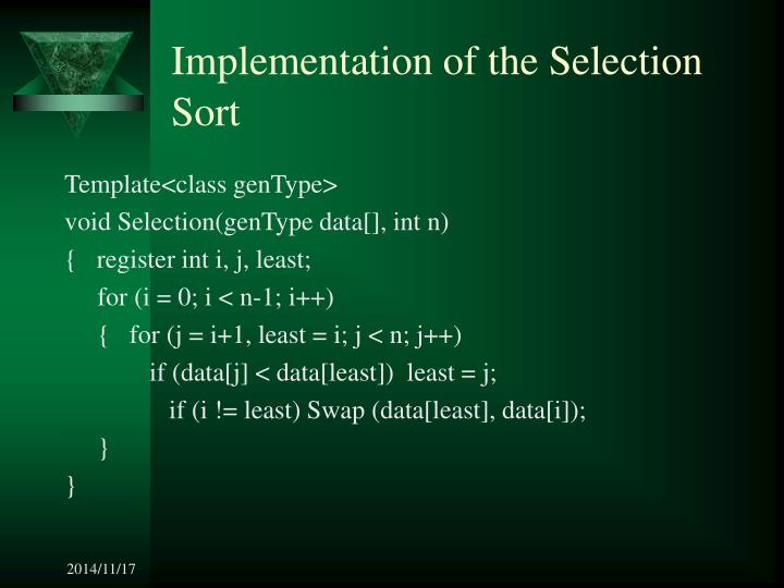 Implementation of the Selection