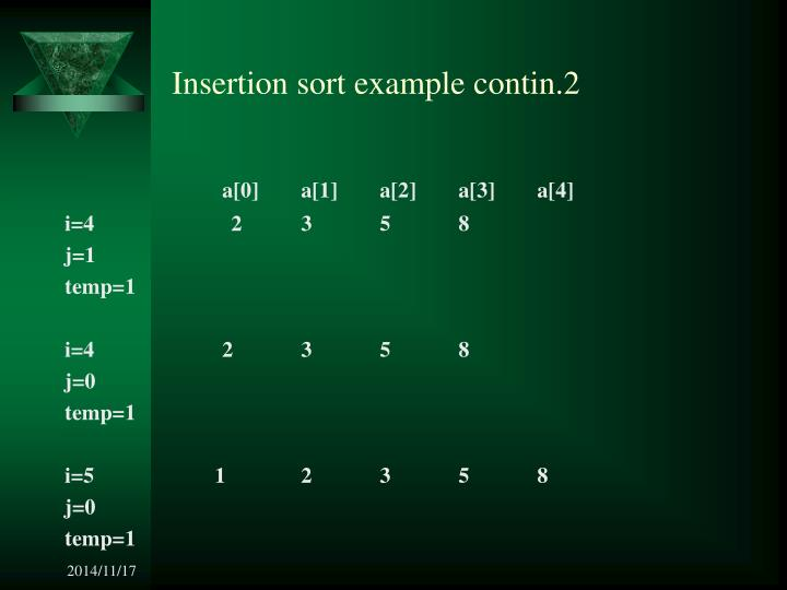 Insertion sort example contin.2