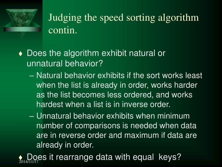 Judging the speed sorting algorithm contin.