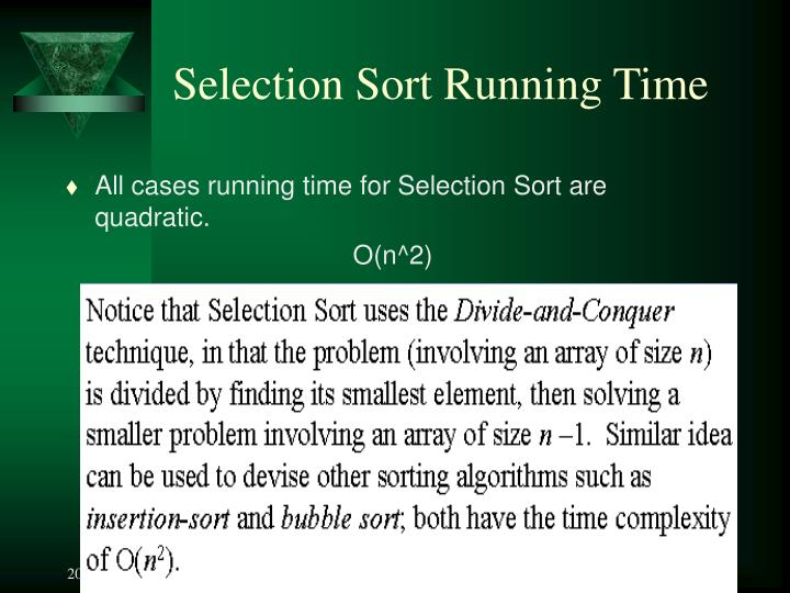 Selection Sort Running Time