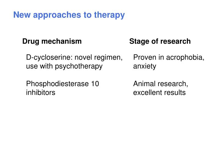 New approaches to therapy
