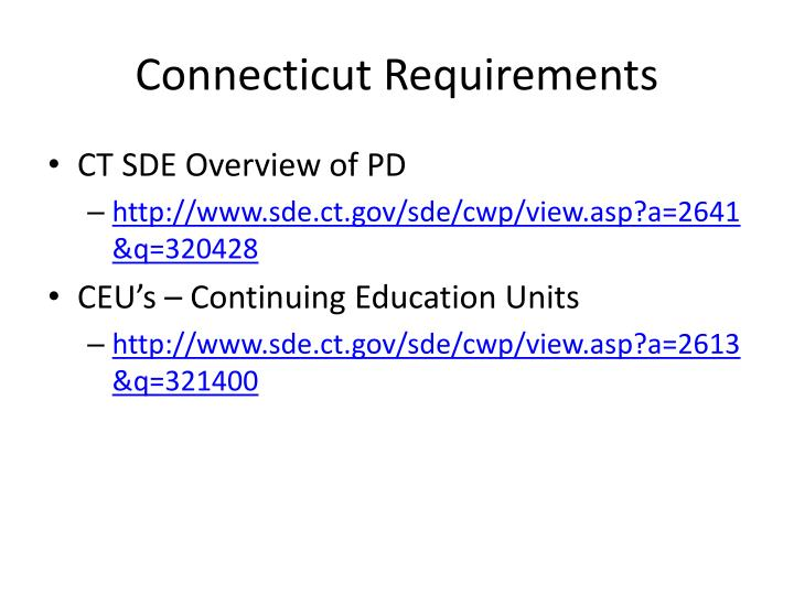 Connecticut Requirements
