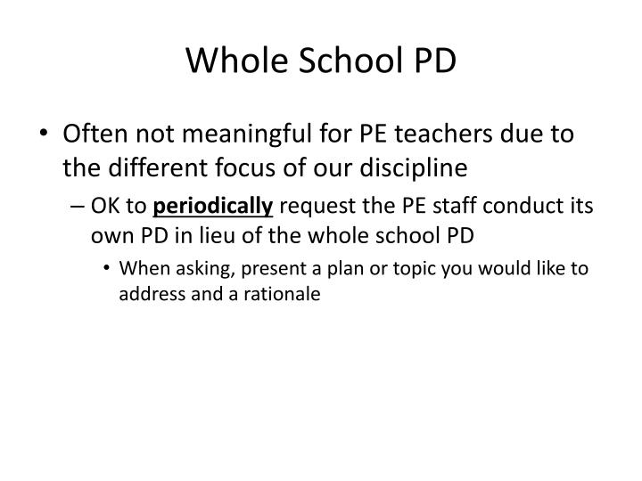 Whole School PD