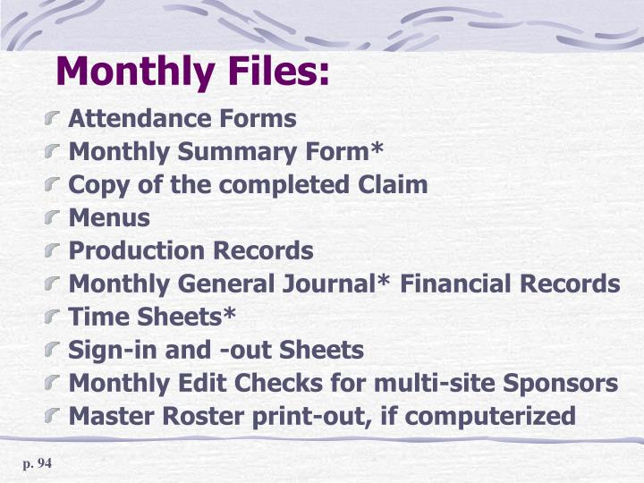 Monthly Files: