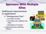 sponsors with multiple sites