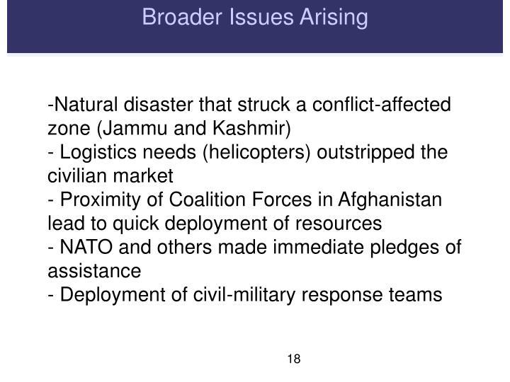 Broader Issues Arising
