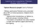 learning from experience pakistan october 2005 onw ards