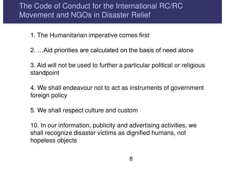 The Code of Conduct for the International RC/RC Movement and NGOs in Disaster Relief