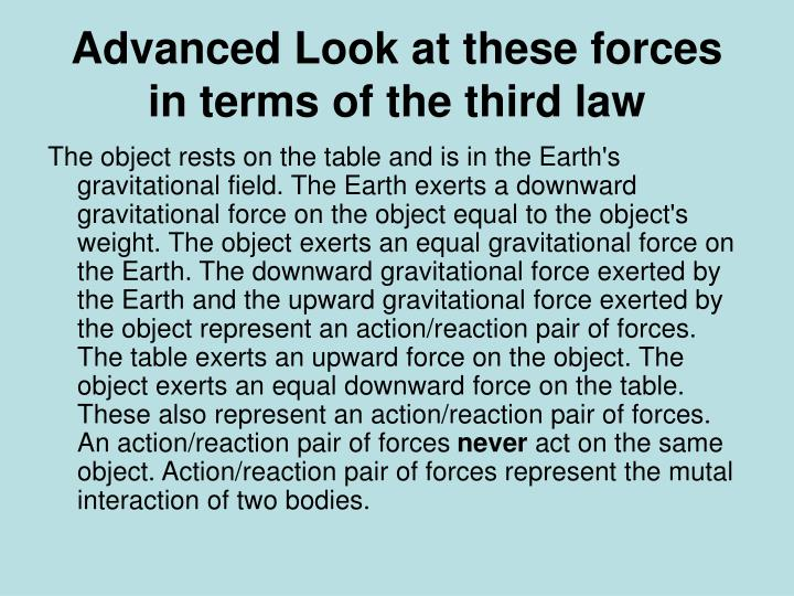 Advanced Look at these forces in terms of the third law