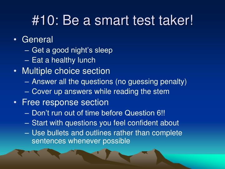 10 be a smart test taker