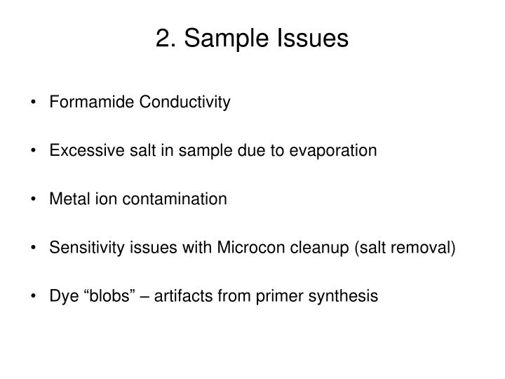 2. Sample Issues