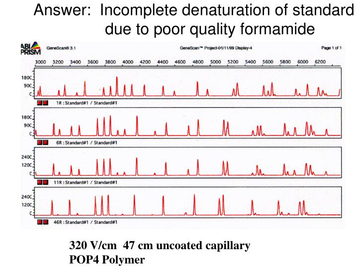Answer:  Incomplete denaturation of standard