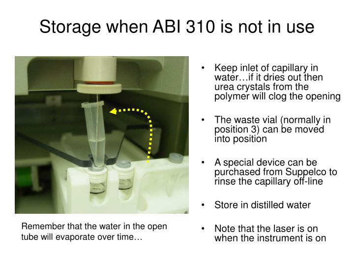 Keep inlet of capillary in water…if it dries out then urea crystals from the polymer will clog the opening