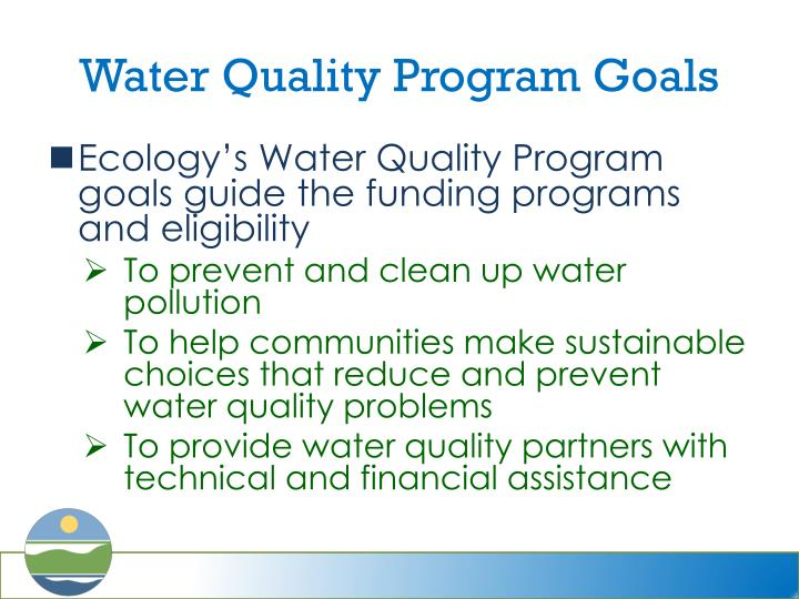 Water quality program goals