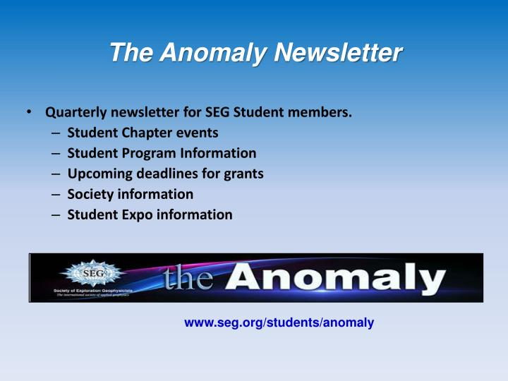 The Anomaly Newsletter
