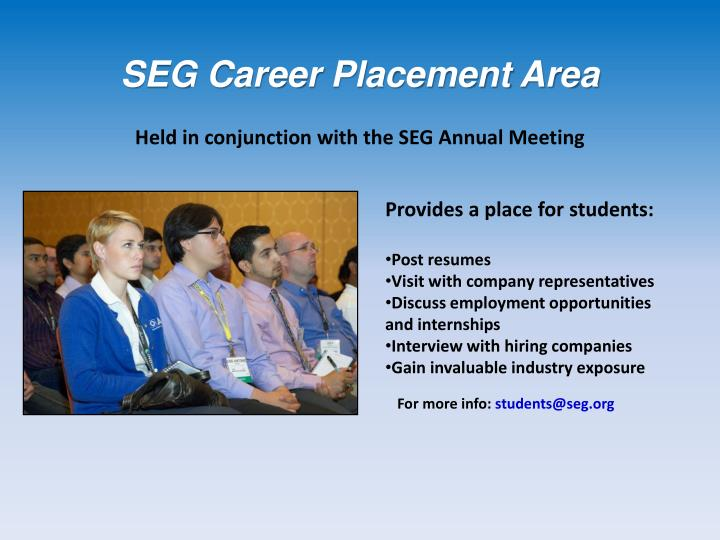 SEG Career Placement Area