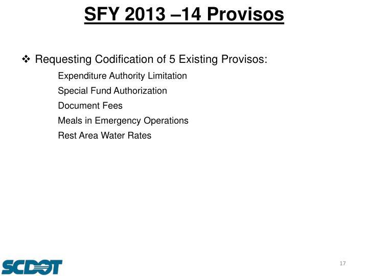 SFY 2013 –14 Provisos