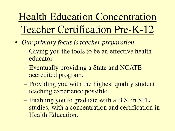 Health Education Concentration