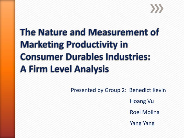 The Nature and Measurement of Marketing Productivity in Consumer Durables Industries: