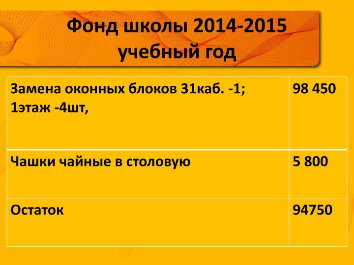 Фонд школы 2014-2015 учебный год