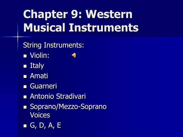 Chapter 9: Western Musical Instruments