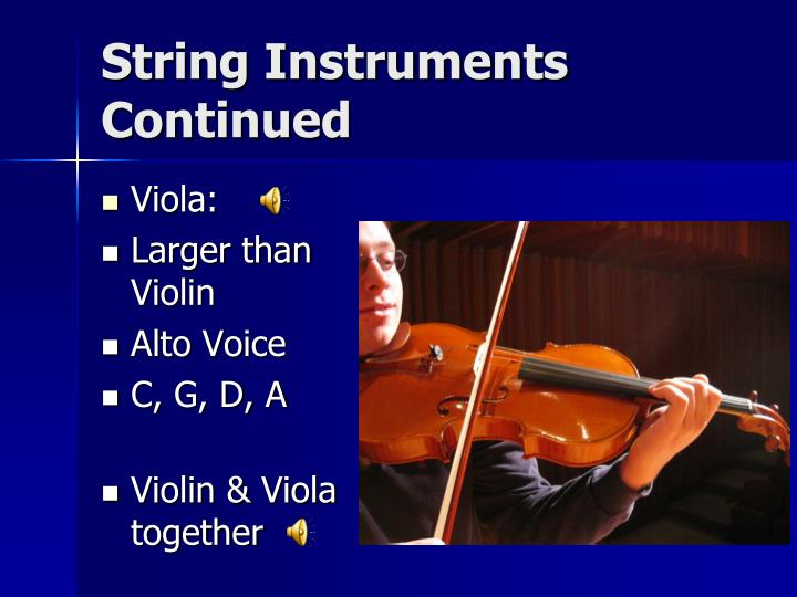 String Instruments Continued