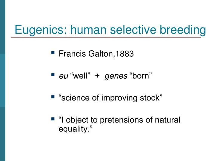 Eugenics: human selective breeding