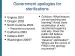 government apologies for sterilizations