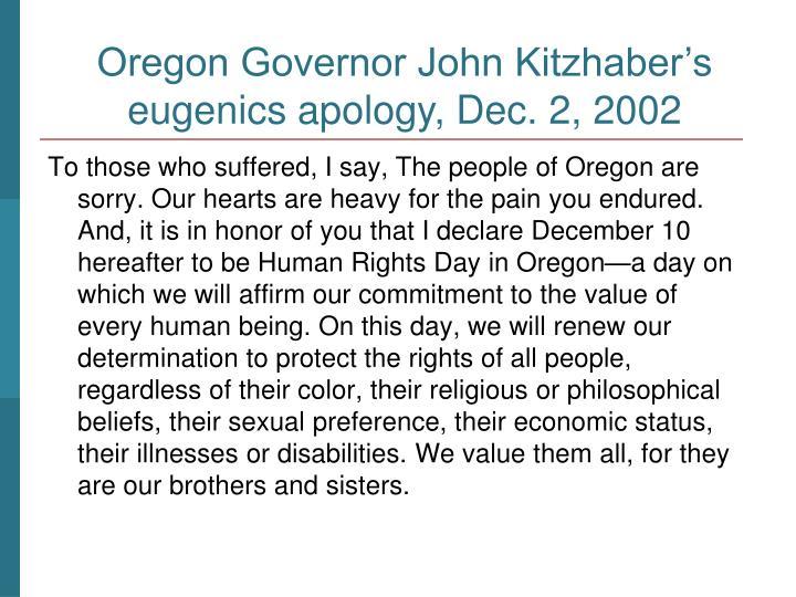 Oregon Governor John Kitzhaber's apology in 2002