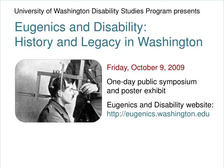 University of Washington Disability Studies Program presents