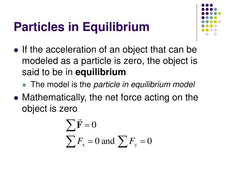 Particles in Equilibrium