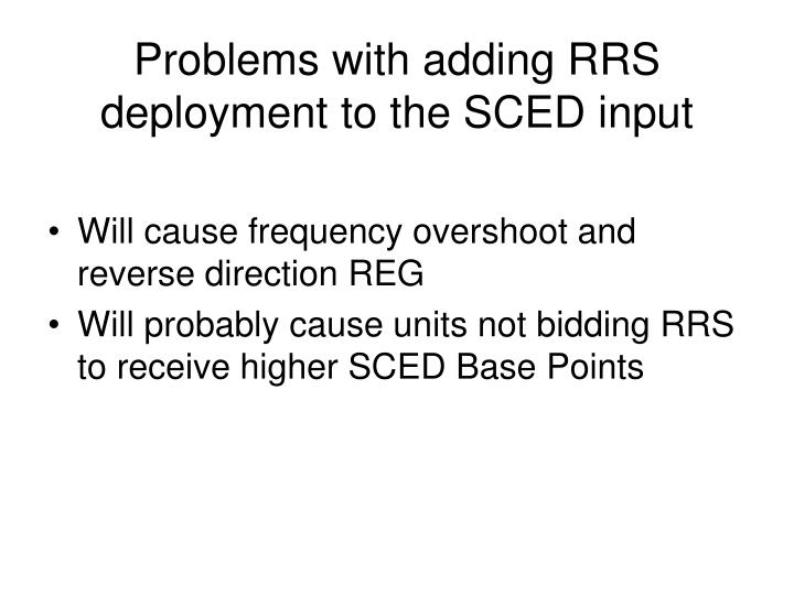 Problems with adding RRS deployment to the SCED input