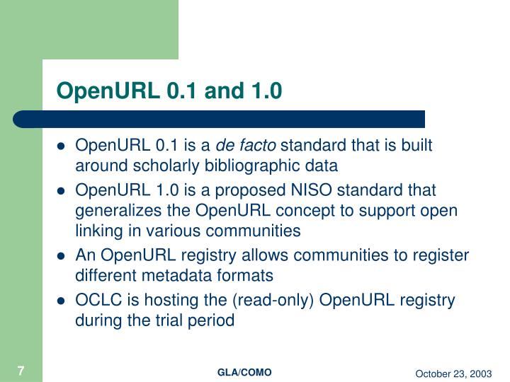 OpenURL 0.1 and 1.0