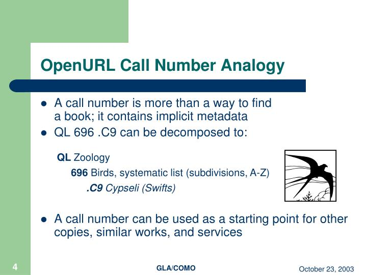OpenURL Call Number Analogy