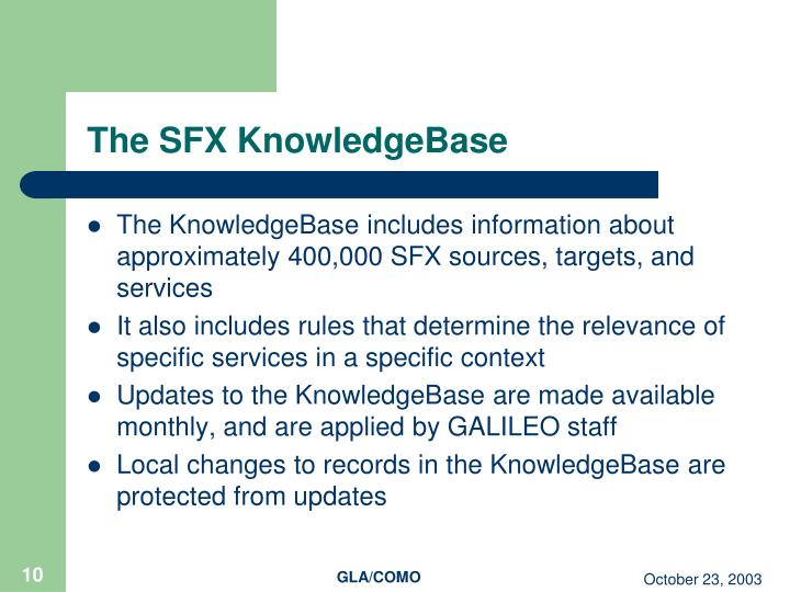 The SFX KnowledgeBase