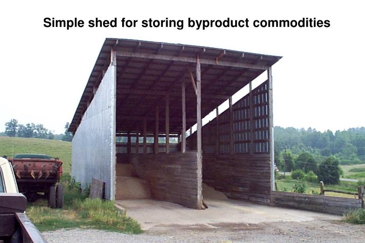 Simple shed for storing byproduct commodities