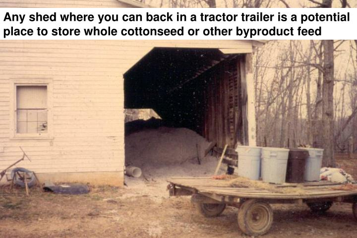 Any shed where you can back in a tractor trailer is a potential place to store whole cottonseed or other byproduct feed